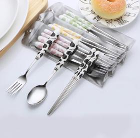 【餐具】韩式创意卡通奶牛纹陶瓷不锈钢勺叉筷套装