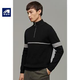 男装2019冬季新款立领套头毛衣男士撞色条纹针织衫外套2308