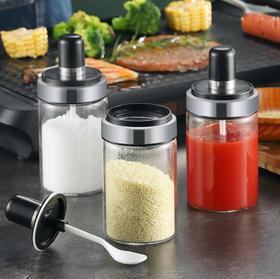 【厨房配件】不锈钢调带勺厨房盐罐味精调料盒蕃茄酱调料罐子调味料玻璃密封罐
