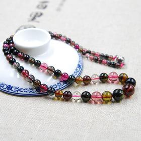 天然碧玺塔链  颜色艳丽 珠体通透 顶级好品质