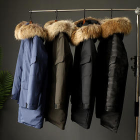 【半岛商城】男士连帽大毛领款羽绒服 高密度高品质高透气 防钻绒防强风 保暖潮外套