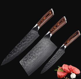 【刀具】大马士革钢厨师套刀彩木三件套家用刀具