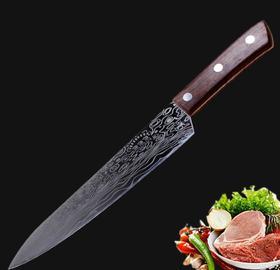 【刀具】大马士革纹菜刀西式料理厨刀切片刀厨房锤纹厨师刀