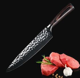【刀具】大马士革刀8寸镜光锤纹厨师刀主厨刀菜刀西式寿司料理刀