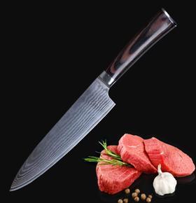 【刀具】厨师多用刀料理刀大马士革钢刀 主厨刺身切片刀
