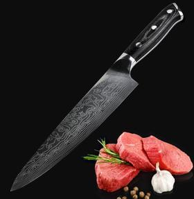 【刀具】大马士革切片激光花纹8寸厨师刀锋利菜刀鱼片刀