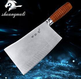 【刀具】砍骨刀 三合一复合不锈钢酒店大厨斩骨刀 锻打桑刀