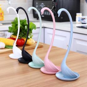 【厨房配件】天鹅带托盘可立式汤勺唯美设计天鹅创意汤勺汤匙小麦