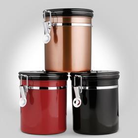 【厨房配件】带排气阀304不锈钢密封罐咖啡豆储存罐干果茶叶罐