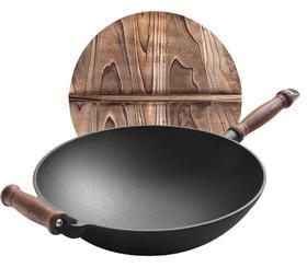 【锅具】铸铁炒锅32cm生铁菜锅不生锈炒老式木柄圆底水墨风