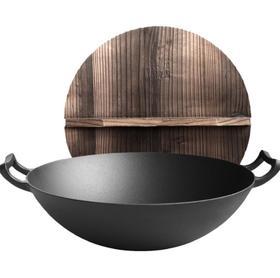 【锅具】双耳铸铁锅炒锅40cm老式加厚圆底家用炒菜锅无涂层不粘锅生铁