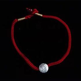 【钱博会】纯银喜字吊坠红绳