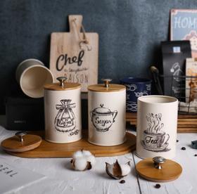 【厨房配件】精美环保镀锌铁家用茶叶咖啡储物罐