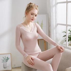 【女装】.4色蕾丝v领发热保暖套装 休闲舒适保暖内衣女
