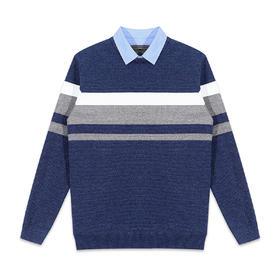 墨麦客男装2019冬季新款加绒假两件男士毛衣加厚衬衫领毛衣潮2320