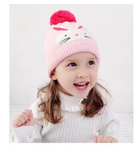 粉色兔子全棉套头帽秋冬款宝宝针织棉女童帽子围巾手套三件套