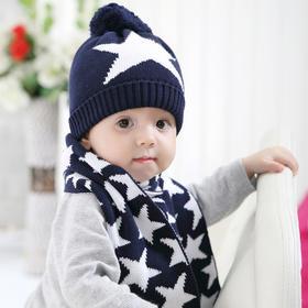 藏蓝星星帽子 围巾 手套三件套
