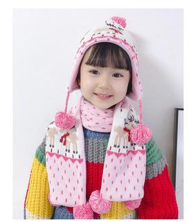 【加绒】小鹿图案儿童帽子围巾手套三件套