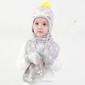 灰色波点兔子护耳帽 儿童宝宝帽子棉针织帽围巾手套
