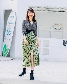 MAISON COVET自有品牌 豹纹拼接图案连衣裙