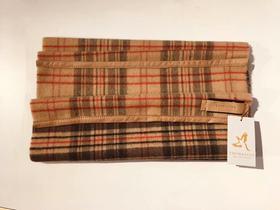 THOMASINE 初剪羊毛格纹羊皮镶边围巾