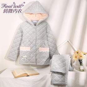 润微睡衣女加绒加厚时尚简约夹棉甜美可爱保暖家居服套装 风甜日暖