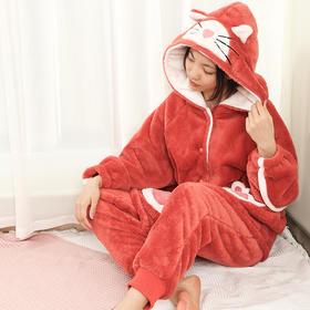 润微秋冬新款睡衣女加绒保暖卡通休闲可爱少女家居服套装 粉妆映雪