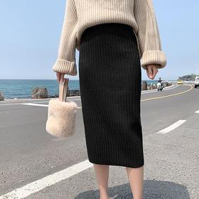 韩版针织高腰开叉一步包臀裙   厚度适中保温又显瘦,压毛处理不粘毛环保染色不掉色