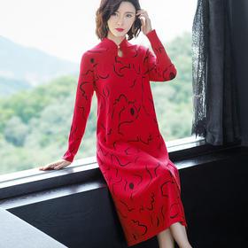 FCY-MG93709新款中国风印花针织连衣裙TZF