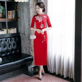 QQ9537新款红色刺绣中式礼服旗袍TZF