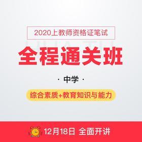 【春节有礼】2020上中学教师资格证笔试全程通关班-综合素质+教育知识与能力(290+课时,全程直播,8本图书包邮)