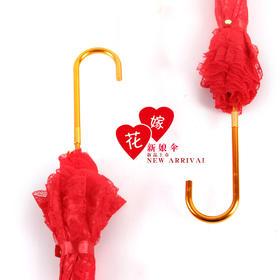 BMSY新款喜庆绣花百年好合双层蕾丝雨伞TZF