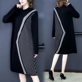AHM-lmx9245新款宽松显瘦条纹针织连衣裙TZF