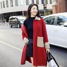 LY新款秋冬装羊剪绒皮毛一体羊羔毛颗粒大衣TZF