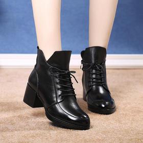OL8807新款时尚粗跟真皮短靴马丁靴TZF