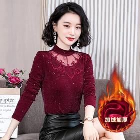 YHSS4-e218-8287新款加绒加厚复古修身蕾丝衫TZF