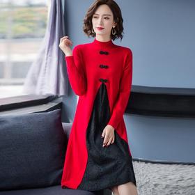 HT5295新款半高领中国风蕾丝毛衣裙TZF