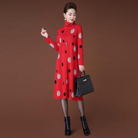 HT5299新款高领圆点毛衣中长款宽松连衣裙TZF