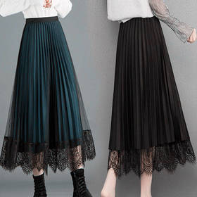 PDD-CSWM191117新款百褶高腰蕾丝纱裙TZF