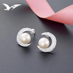 YJ-YJBR003012新款珍珠纯银月亮镶钻贝珠耳钉TZF