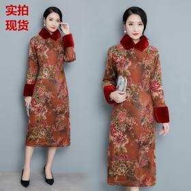 AB-EB8166冬季麂皮绒棉旗袍