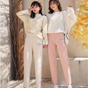 樱花裤玻尿酸婴儿绒加厚加绒外穿打底裤长裤大码保暖裤女萝卜裤