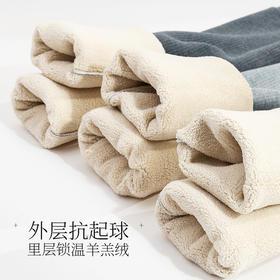 羊羔绒竖条螺纹大码无痕加绒加厚打底裤冬季外穿高腰保暖裤棉裤