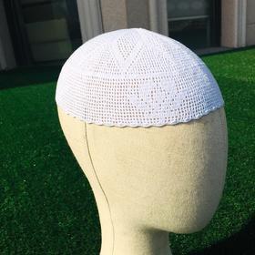 纯手工钩织礼拜帽,白帽浅网帽子,老少皆宜。