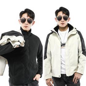 【抗污三防】珊瑚绒三合一连帽冲锋衣