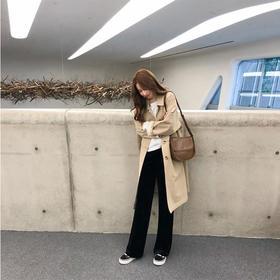 【春夏显瘦显腿长】垂感金丝绒阔腿裤女宽松高腰条绒直筒长裤黑色休闲运动丝绒裤