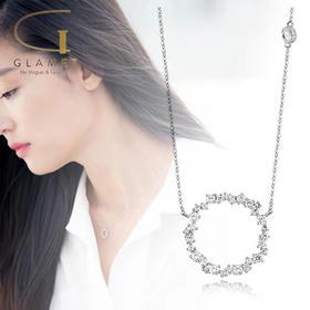 尚镁电镀925银多锆石项链  L90003