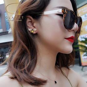 尚镁电镀925银不对称花朵耳钉蜜蜂耳饰L90009