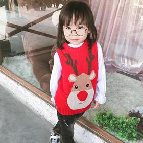 圣诞卡通鹿头坎肩 儿童毛线针织马甲