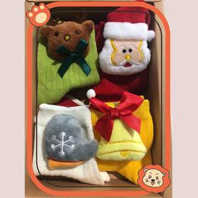 【4双 纯棉】圣诞袜礼盒装儿童可爱卡通公仔INS风